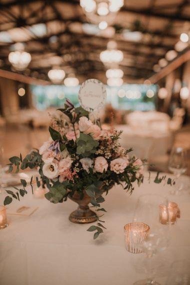 Blush wedding flower table arrangements