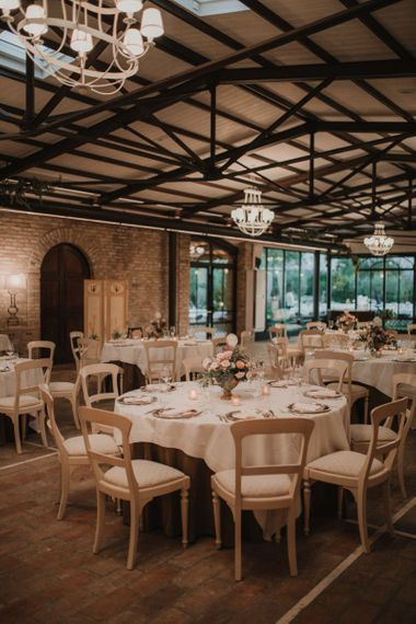 Italian wedding reception with floral table decoration