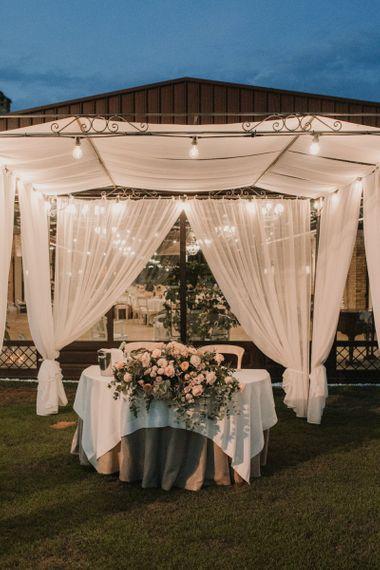 Sweetheart wedding table at Italian wedding