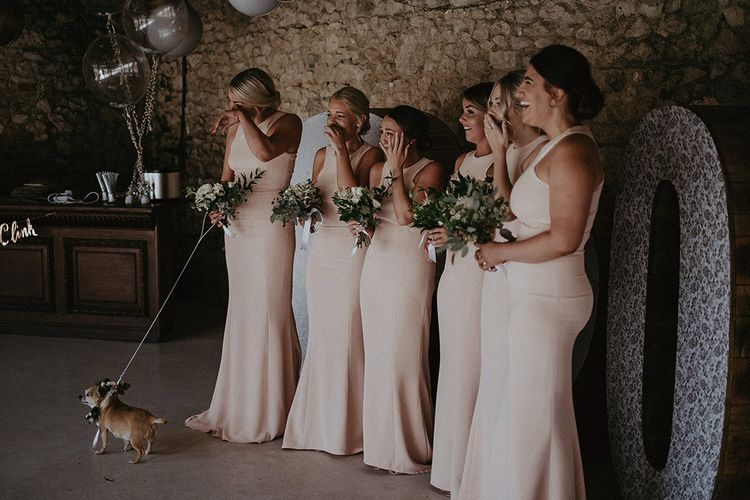 Bridesmaids in Blush Pink Halterneck Dresses