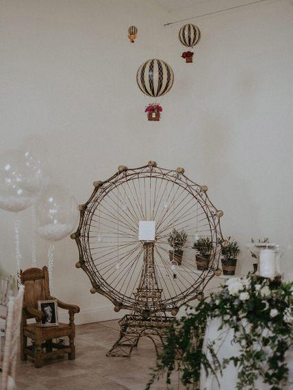 Wire Ferris Wheel and Eiffel Tower Wedding Decor