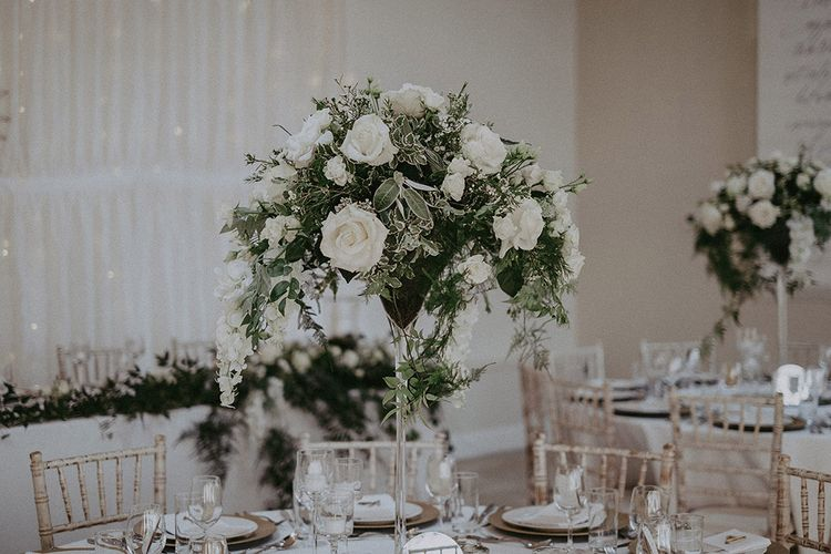 White and Green Wedding Flower Centrepieces