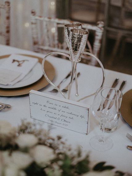 Vera Wang Silver Champagne Flute Top Table Wedding Decor