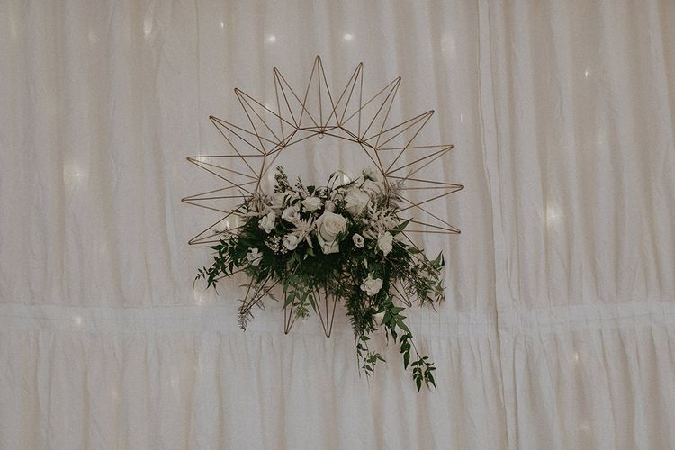 Wire Sun and White and Gold Wedding Flowers