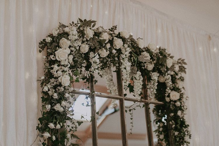 Window Pane Mirror and White and Green Wedding Flowers