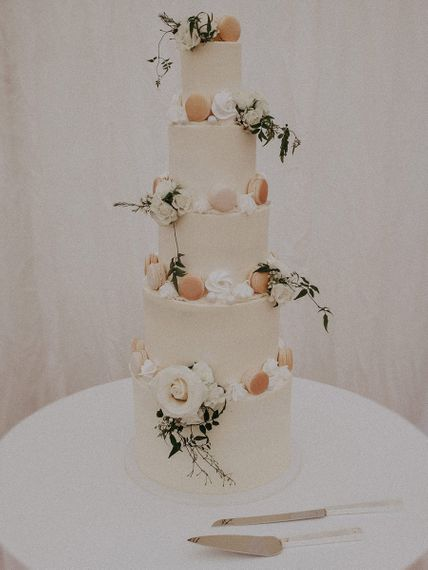 Five Tier Buttercream Wedding Cake with Macaroons Decor