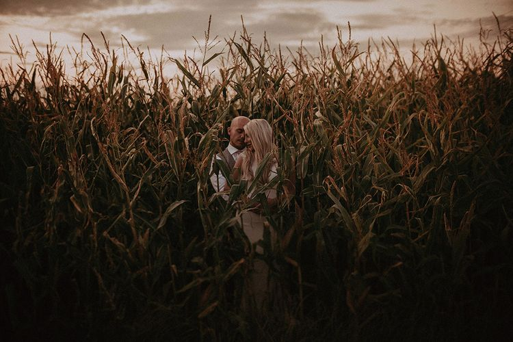 Bride and Groom Portrait in the Crops