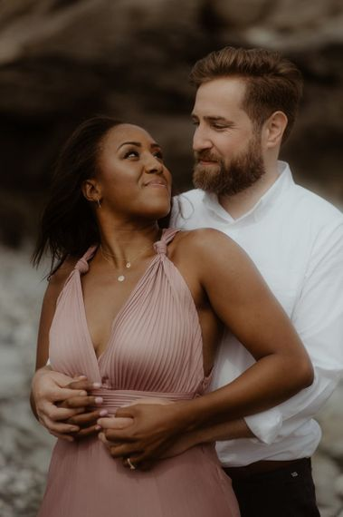 Beautiful bride in pink maxi dress for engagement shoot