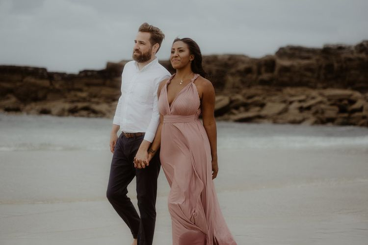 couples portraits on the beach in Cornwall