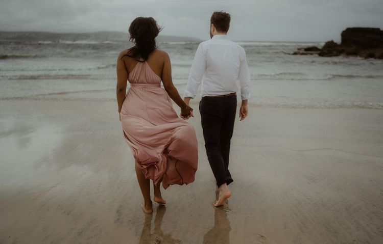 Intimate couples session on the beach in Cornwall