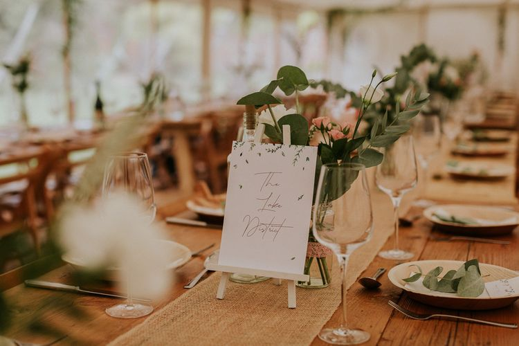 Marquee wedding table decoration
