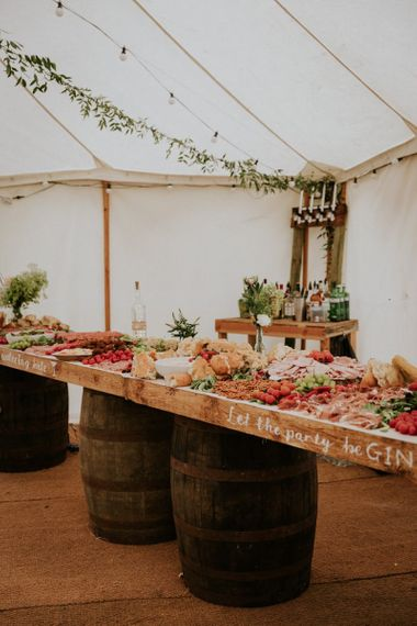 Grazing table at marquee wedding