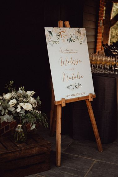 Wedding welcome sign at Micklefield Hall wedding