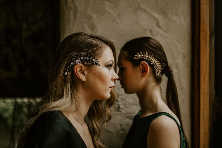 The Lucky Sixpence Hair Accessories | Forest Green and Black Dark Decadence Wedding Inspiration in a Rustic Barn Planned & Styled by Knots & Kisses with Images by Daze of Glory Photography