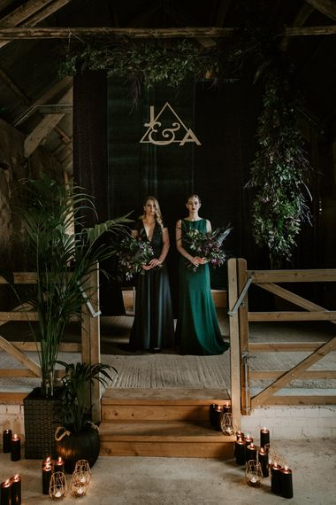 Foliage & Candle Light Altar Wedding Decor | Forest Green Bridesmaid Dresses | Forest Green and Black Dark Decadence Wedding Inspiration in a Rustic Barn Planned & Styled by Knots & Kisses with Images by Daze of Glory Photography