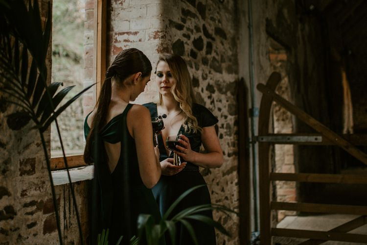 Forest Green Bridesmaid Dresses | Forest Green and Black Dark Decadence Wedding Inspiration in a Rustic Barn Planned & Styled by Knots & Kisses with Images by Daze of Glory Photography