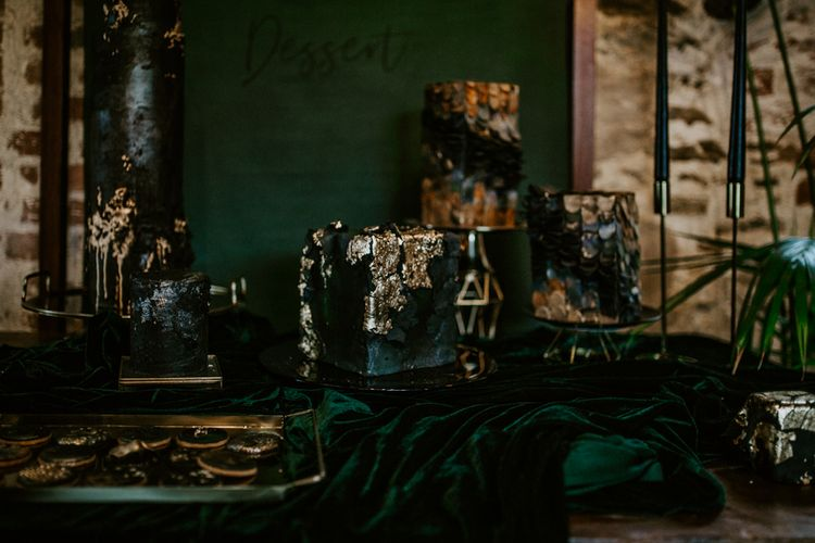 Intricate Designed Wedding Cakes with Gold Foil Decor | Forest Green and Black Dark Decadence Wedding Inspiration in a Rustic Barn Planned & Styled by Knots & Kisses with Images by Daze of Glory Photography