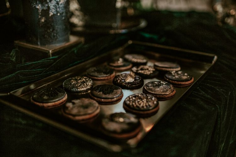 Iced Wedding Biscuits for Dessert Table | Forest Green and Black Dark Decadence Wedding Inspiration in a Rustic Barn Planned & Styled by Knots & Kisses with Images by Daze of Glory Photography