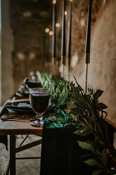 Greenery Garland Wedding Table Decor | Forest Green and Black Dark Decadence Wedding Inspiration in a Rustic Barn Planned & Styled by Knots & Kisses with Images by Daze of Glory Photography