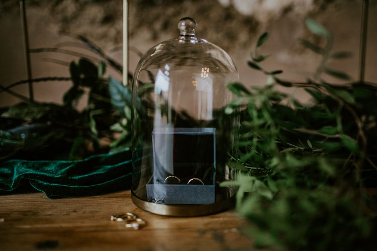 Wedding Banks Under a Cloche | Forest Green and Black Dark Decadence Wedding Inspiration in a Rustic Barn Planned & Styled by Knots & Kisses with Images by Daze of Glory Photography