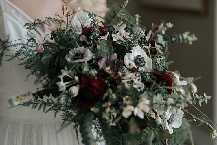 Oversized Bridal Bouquet with Anemones | Dark & Dreamy Celestial Wedding Inspiration by Save the Date Event Stylist at East Bridgford Hill, Nottingham | Pear & Bear Photography