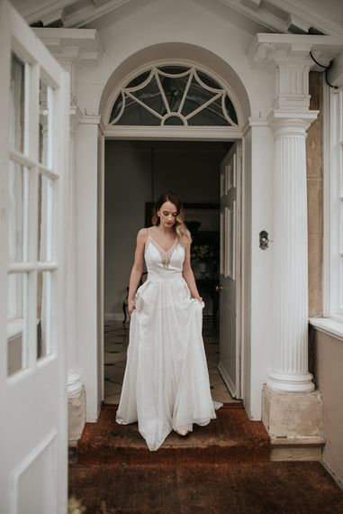 Beautiful Bride in Raimon Bundo Gown | Dark & Dreamy Celestial Wedding Inspiration by Save the Date Event Stylist at East Bridgford Hill, Nottingham | Pear & Bear Photography
