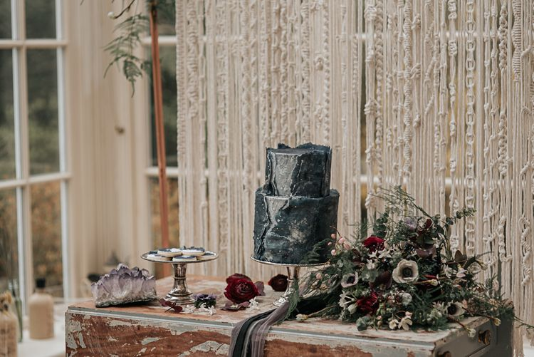 Cottonwood Bakery Blue Wedding Cake | Dark & Dreamy Celestial Wedding Inspiration by Save the Date Event Stylist at East Bridgford Hill, Nottingham | Pear & Bear Photography