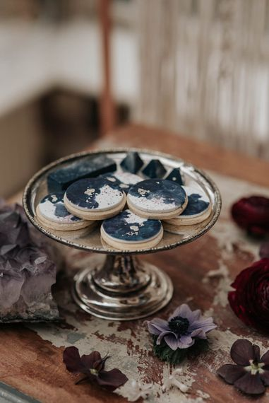 Cottonwood Bakery Biscuits | Dark & Dreamy Celestial Wedding Inspiration by Save the Date Event Stylist at East Bridgford Hill, Nottingham | Pear & Bear Photography