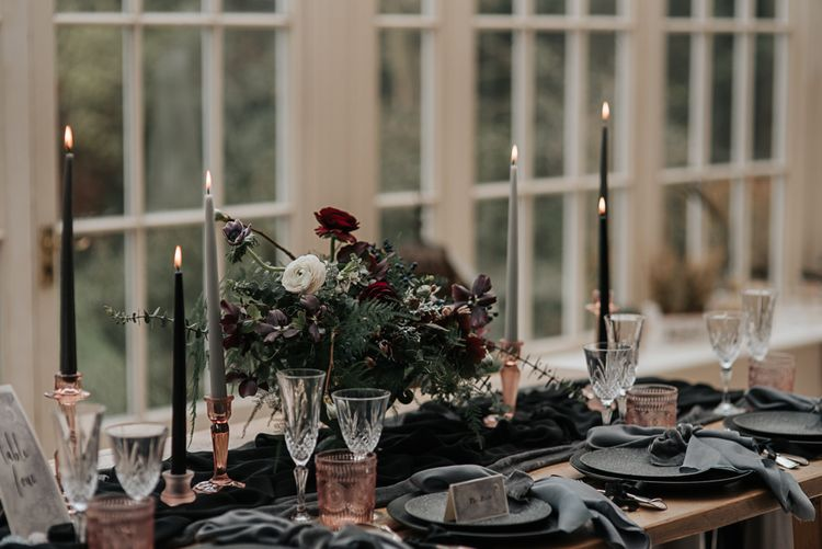Tablescape | Dark & Dreamy Celestial Wedding Inspiration by Save the Date Event Stylist at East Bridgford Hill, Nottingham | Pear & Bear Photography
