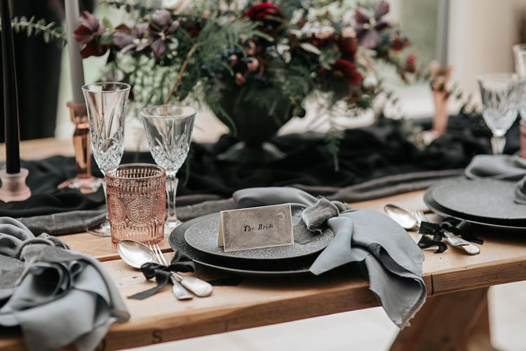 Elegant Place Setting  Dark & Dreamy Celestial Wedding Inspiration by Save the Date Event Stylist at East Bridgford Hill, Nottingham | Pear & Bear Photography
