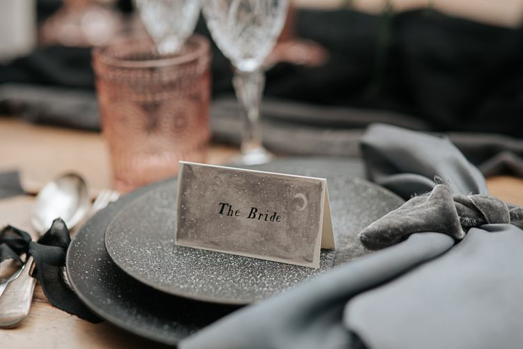 Elegant Place Setting | Dark & Dreamy Celestial Wedding Inspiration by Save the Date Event Stylist at East Bridgford Hill, Nottingham | Pear & Bear Photography