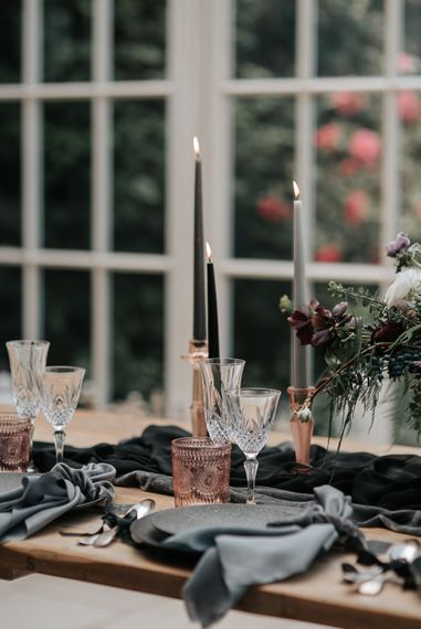 Taper Candles Wedding Decor | Dark & Dreamy Celestial Wedding Inspiration by Save the Date Event Stylist at East Bridgford Hill, Nottingham | Pear & Bear Photography