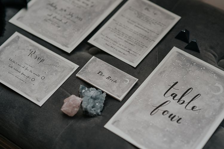Elegant Calligraphy Wedding Stationery | Dark & Dreamy Celestial Wedding Inspiration by Save the Date Event Stylist at East Bridgford Hill, Nottingham | Pear & Bear Photography