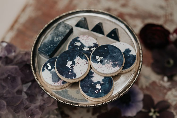 Cottonwood Bakery Wedding Biscuits | Dark & Dreamy Celestial Wedding Inspiration by Save the Date Event Stylist at East Bridgford Hill, Nottingham | Pear & Bear Photography