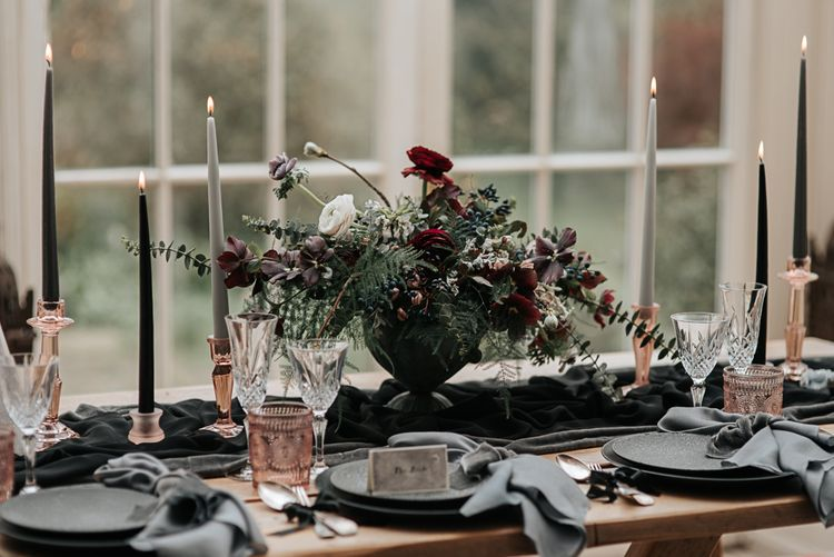 Tabelscape with Floral Centrepiece, Taper Candles and Coloured Goblets | Dark & Dreamy Celestial Wedding Inspiration by Save the Date Event Stylist at East Bridgford Hill, Nottingham | Pear & Bear Photography