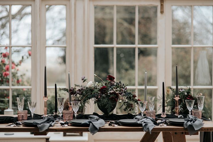 Tablescape with Floral Centrepiece, Taper Candles & Goblets | Dark & Dreamy Celestial Wedding Inspiration by Save the Date Event Stylist at East Bridgford Hill, Nottingham | Pear & Bear Photography
