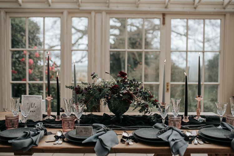 Tablecape with Floral Centrepiece, Taper Candles & Coloured Goblets | Dark & Dreamy Celestial Wedding Inspiration by Save the Date Event Stylist at East Bridgford Hill, Nottingham | Pear & Bear Photography