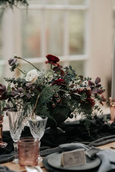 Floral Centrepiece | Dark & Dreamy Celestial Wedding Inspiration by Save the Date Event Stylist at East Bridgford Hill, Nottingham | Pear & Bear Photography