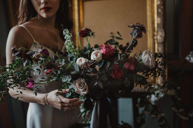 Oversized Bridal Bouquet   Dark Opulence Inspiration at Anstey Hall, Cambridgeshire Styled by Mia Sylvia   Camilla Andrea Photography