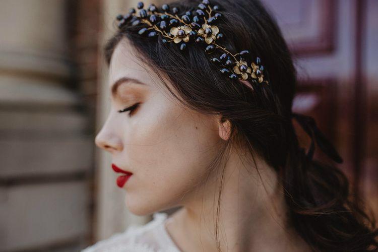 Bridal Makeup   Headdress   Dark Opulence Inspiration at Anstey Hall, Cambridgeshire Styled by Mia Sylvia   Camilla Andrea Photography
