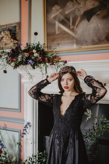 Bride in Black River Elliot Bridal Gown   Dark Opulence Inspiration at Anstey Hall, Cambridgeshire Styled by Mia Sylvia   Camilla Andrea Photography