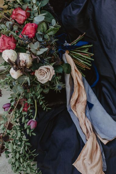 Deep Red, Purple & Plum Oversized Bouquet with Ribbon   Dark Opulence Inspiration at Anstey Hall, Cambridgeshire Styled by Mia Sylvia   Camilla Andrea Photography
