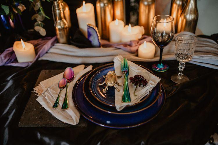 Elegant Place Setting     Dark Opulence Inspiration at Anstey Hall, Cambridgeshire Styled by Mia Sylvia   Camilla Andrea Photography