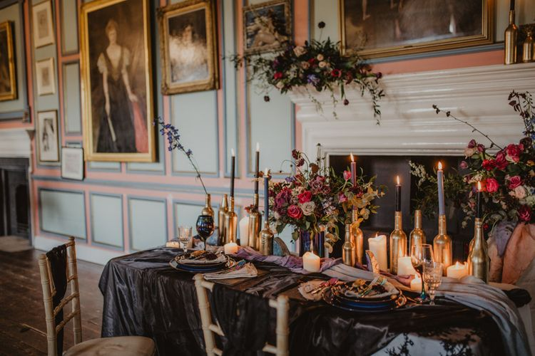 Tablescape with Candlesticks    Dark Opulence Inspiration at Anstey Hall, Cambridgeshire Styled by Mia Sylvia   Camilla Andrea Photography