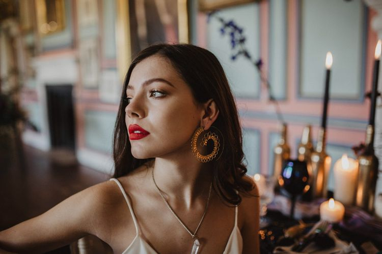 Bridal Makeup with Red Lips    Dark Opulence Inspiration at Anstey Hall, Cambridgeshire Styled by Mia Sylvia   Camilla Andrea Photography
