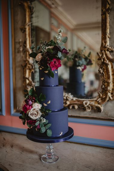 Black Wedding Cake by Couture Cakes by Katie Sanderson    Dark Opulence Inspiration at Anstey Hall, Cambridgeshire Styled by Mia Sylvia   Camilla Andrea Photography