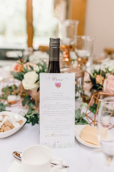 Personalised wedding reception menus for rustic reception with rose gold detailing