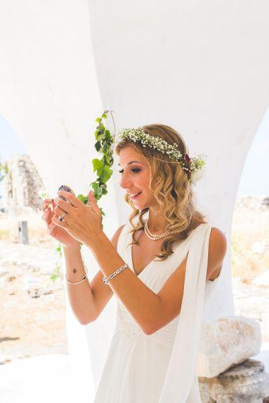 Debenhams v-neck wedding dress with floral appliqué details