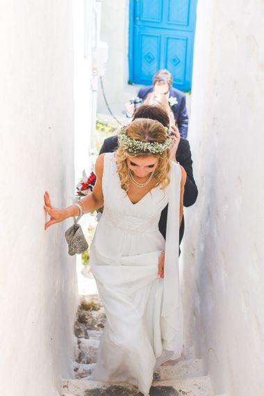 Debenhams v-neck wedding dress with floral crown