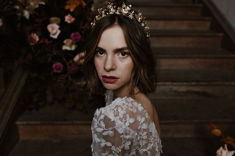 Bridal Beauty | Gold Hairpiece | Floral Design by Jenni Bloom Flowers | Deep Florals Wedding Inspiration at The Grange at Northington Planned & Styled by Wed & Bash | Sara Lincoln Photography